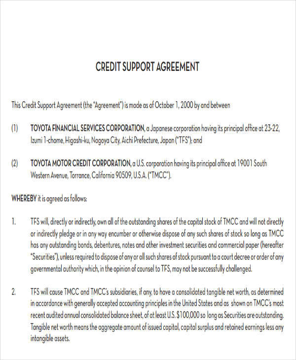 7+ Credit Agreement - Free Sample, Example , Format Download - credit agreement