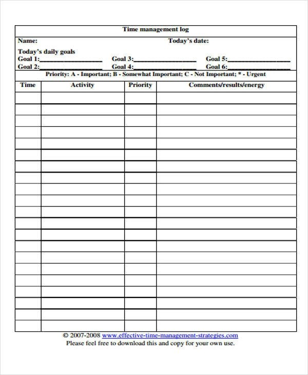 22+ Time Log Templates Sample Templates - time log template