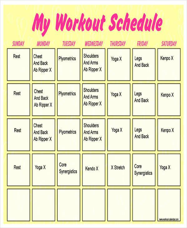 weekly workout calendar template