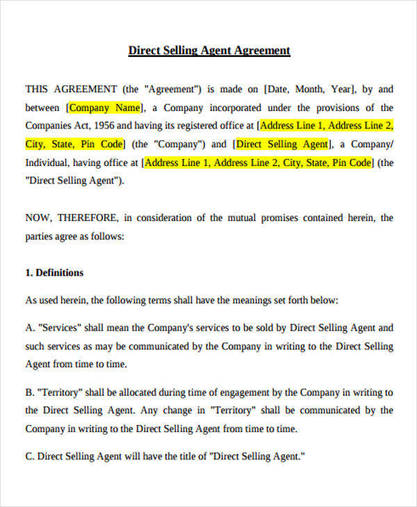 Sales Agent Agreement Images - Agreement Letter Format