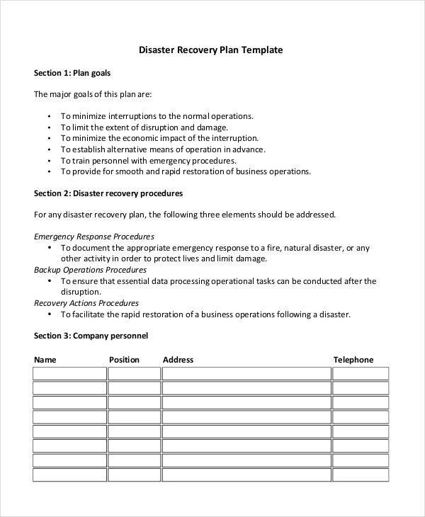 Disaster Recovery Plan Template disaster recovery plan template - disaster recovery plan template