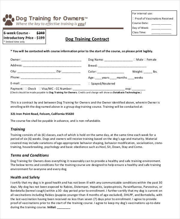 Sample Training Contract Templates Personal Training Contract