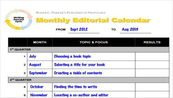 6+ Editorial Calendar Templates \u2013 Examples in PDF Sample Templates - editorial calendar template