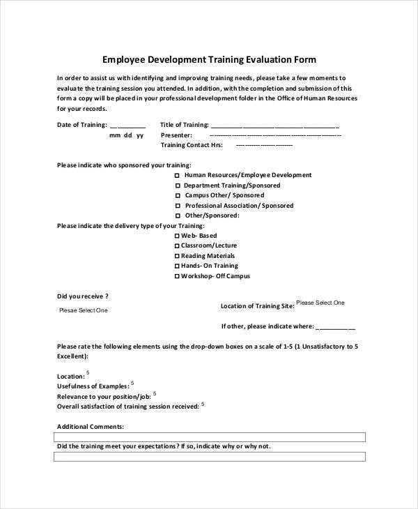 20 Employee Evaluation Form Samples  Templates Sample Templates - lecture evaluation form