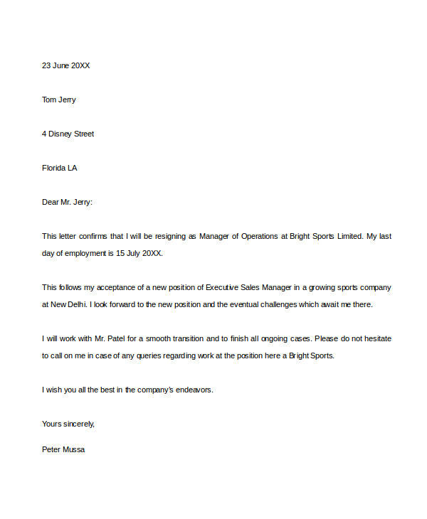 31 Resignation Letter Formats  Templates Sample Templates