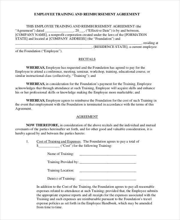 Training Agreement Contract training contract template - 6+ - training agreement contract