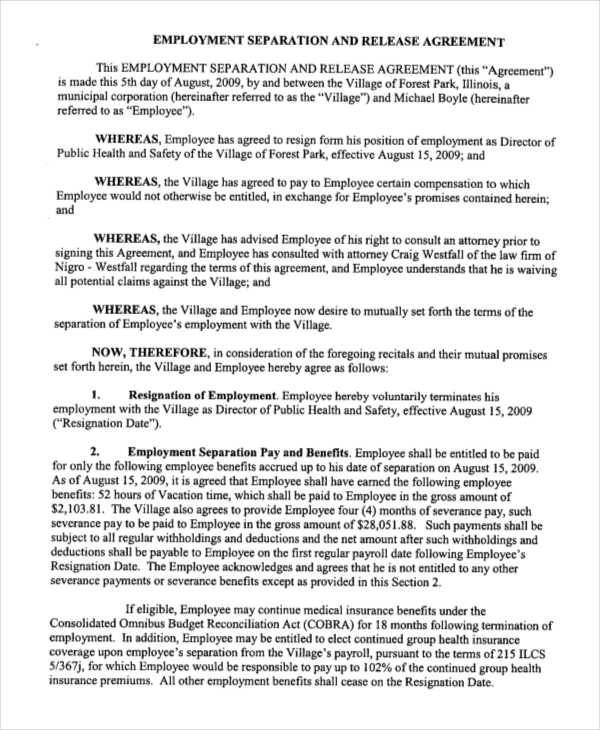 9+ Release Agreements \u2013 Free Downloadable Samples, Examples, and - employment release agreement