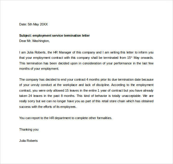 sample letter of termination of employment by employer