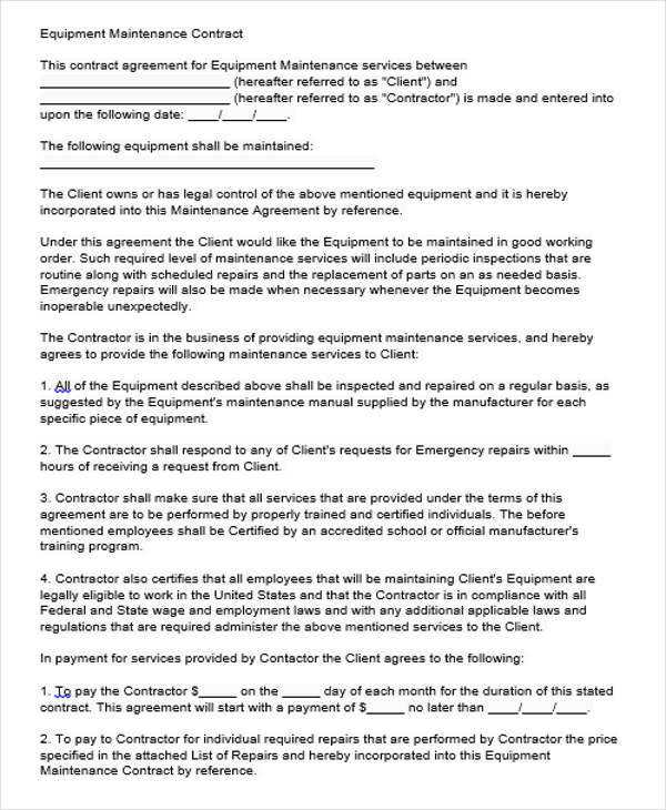 9+ Maintenance Agreement - Examples in Word, PDF