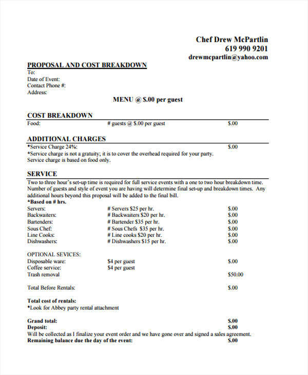 6+ Catering Proposal Template - Examples in Word, PDF - catering quote template