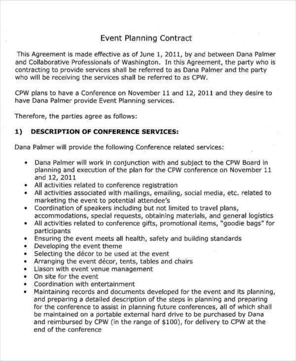 6 Planner Contract Samples  Templates Sample Templates - event planner contract example