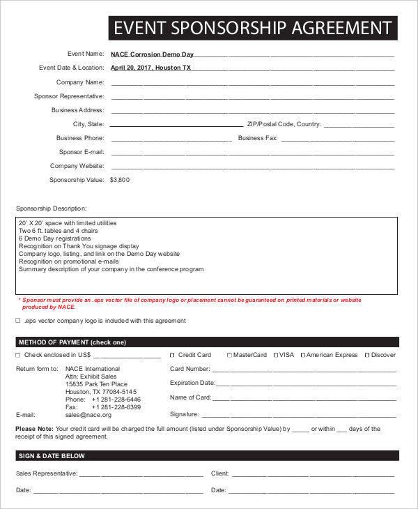 9+ Sponsorship Agreements \u2013 Free Sample, Example, Format Download - sponsorship agreement