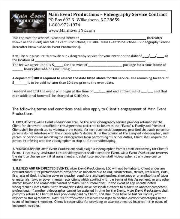 42 Free Contract Templates - videography contract template