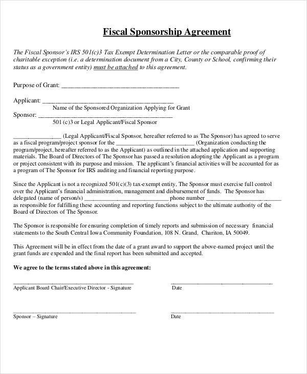 9+ Sponsorship Agreement Samples and Templates \u2013 PDF, Word Sample