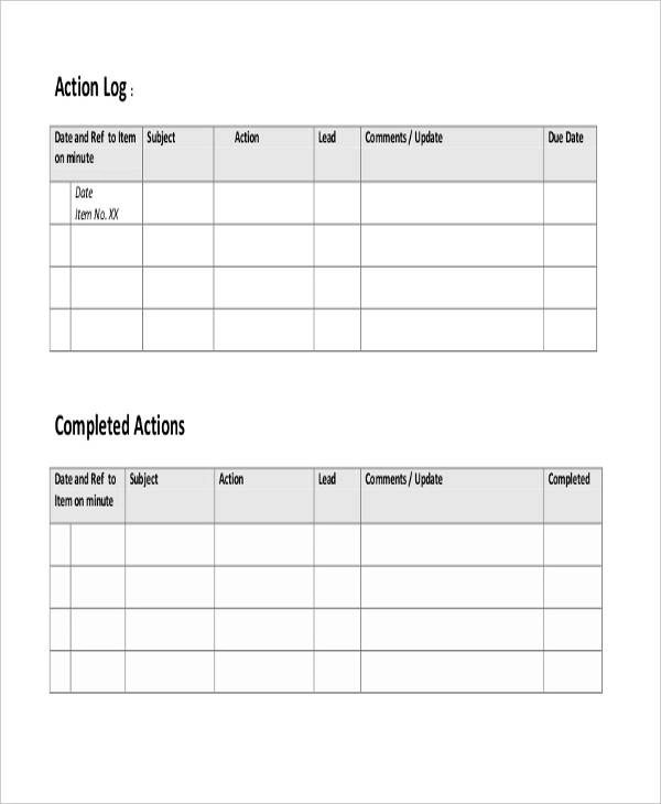 Attractive Action Log Template Pattern - Best Resume Examples by