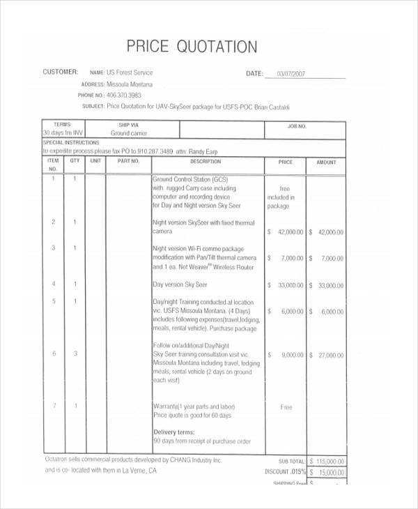 ... 8+ Price Quotation   Free Sample, Example, Format Download   Price  Quotation ...