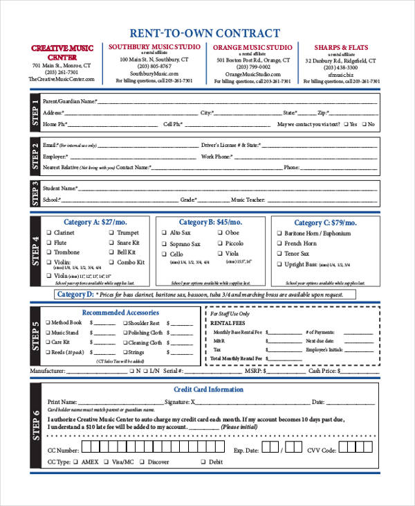 6 Rent-to-Own Contract Samples  Templates Sample Templates - rent to own contract sample