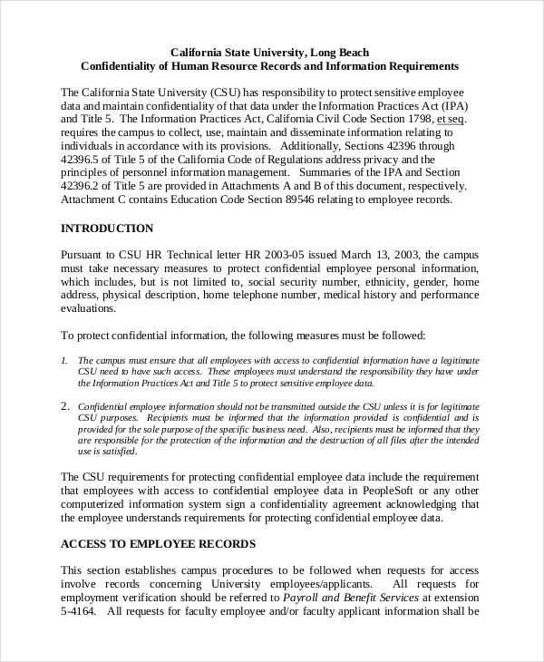 hr confidentiality agreement - Canasbergdorfbib