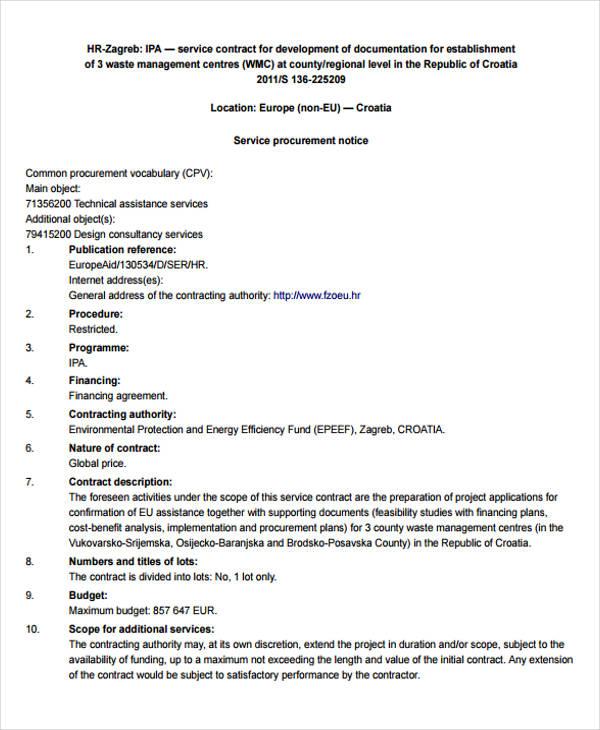 Hr Contract Template Examples In Word Pdf Hr Contract Templates - generic contract for services