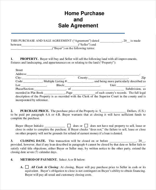 7+ Home Sales Contracts Samples  Templates in PDF - purchase and sales agreement