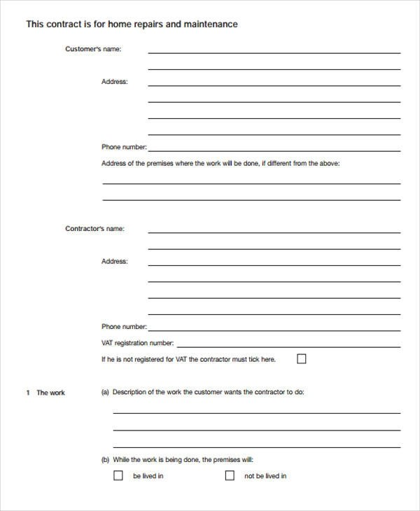 8+ Maintenance Agreement \u2013 Examples in Word, PDF Sample Templates - maintenance agreement