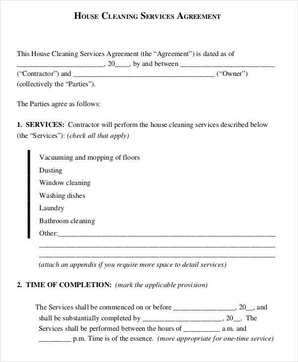housekeeper contract templates - Josemulinohouse