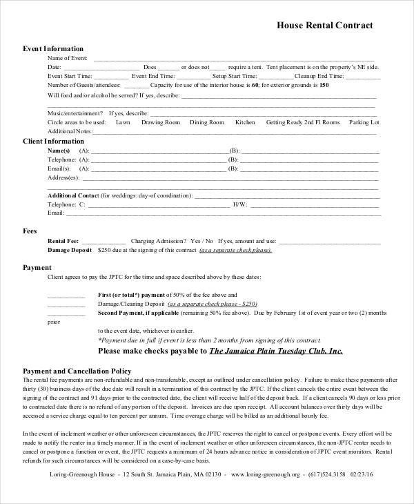 6+ House Rent Contract Samples  Templates in PDF, Apple Pages, Word