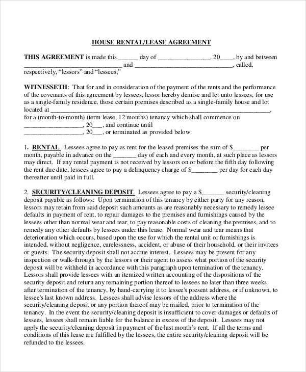 8+ Rent Contract Templates - Free Sample, Example, Format Download - house rental contract