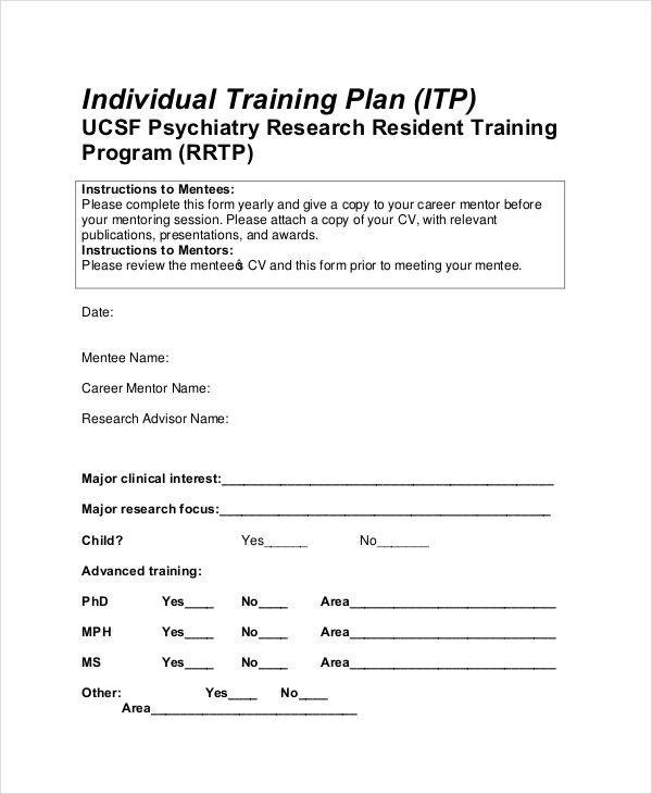 Training Plan 10 Free Pdf Word Documents Download Individual