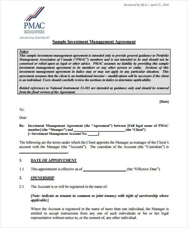 12+ Investment Agreements Samples  Templates in PDF