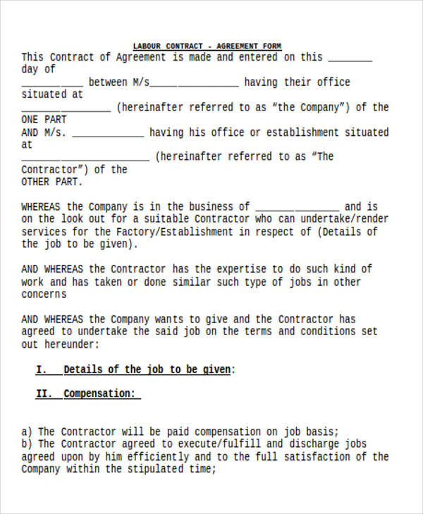 5+ Labour Contract Samples  Templates - PDF, DOC