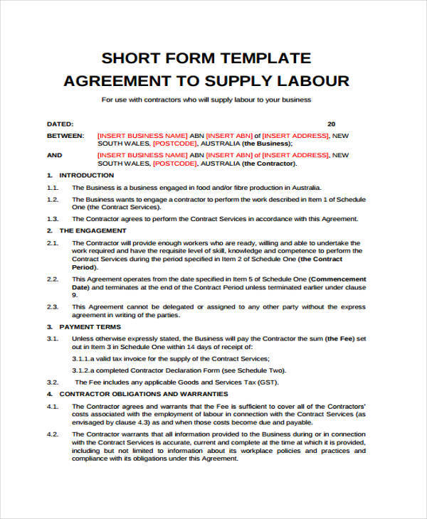 Supply Agreement Contract  NodeResumeTemplatePaasproviderCom