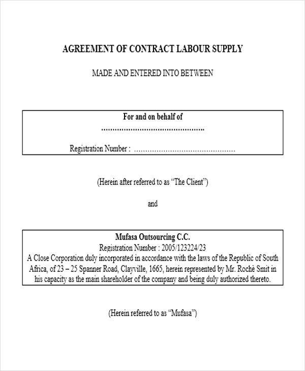 10 Supply Contract Samples  Templates Sample Templates - agreement for labour contract