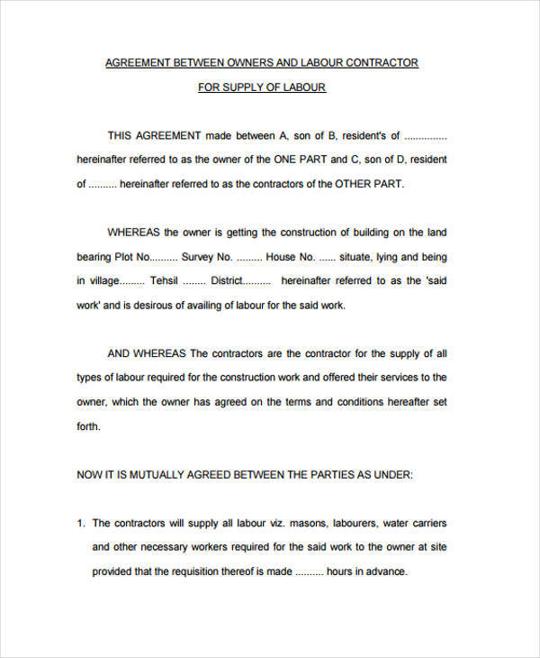 Supply Agreement Contract Contract Manufacturing Agreement Template - supply contract templates