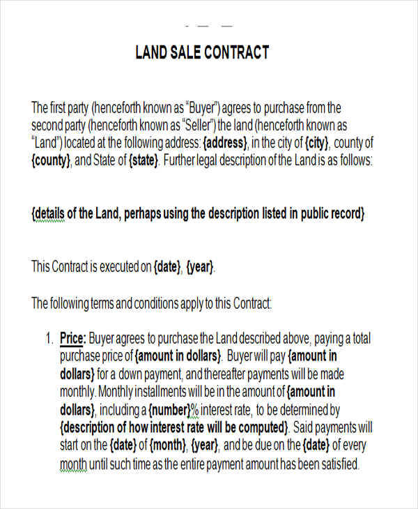 7+ Land Contract Templates \u2013 Examples in Word, PDF Sample Templates