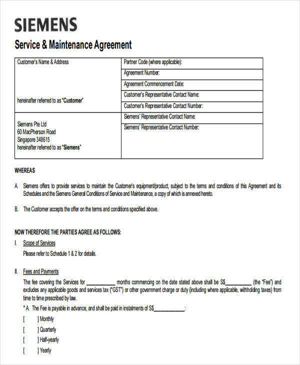 maintenance service agreement template - zrom