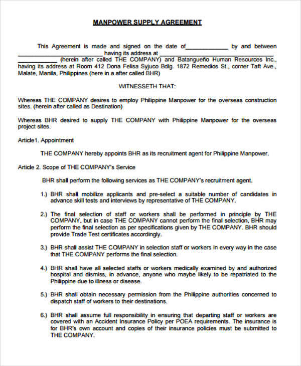 Supply Agreement Contract manufacturing supply agreement create - supply contract templates