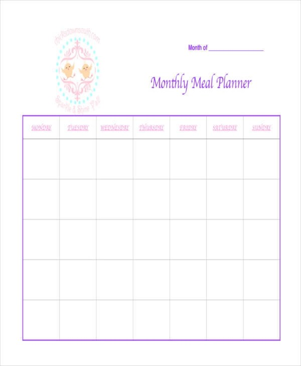 Template Monthly Dinner Menu Template Signup Template How To Make A