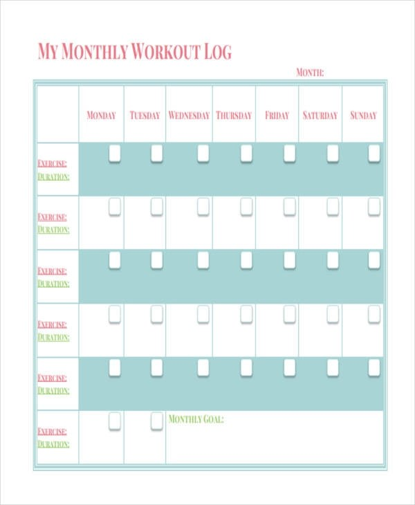 34 Sample Log Templates Sample Templates - monthly workout log