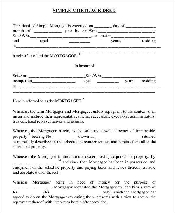 9 Mortgage Contract Samples  Templates Sample Templates