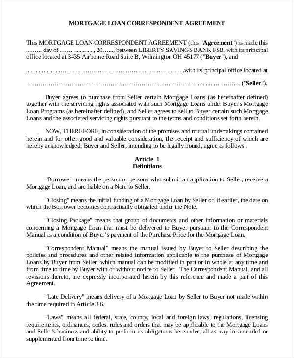 5+ Mortgage Contract Samples  Templates - PDF, DOC