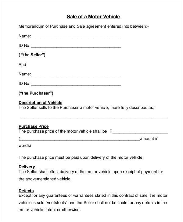 8 Automobile Sales Contract - Free Sample, Example, Format Download - auto sales contract template