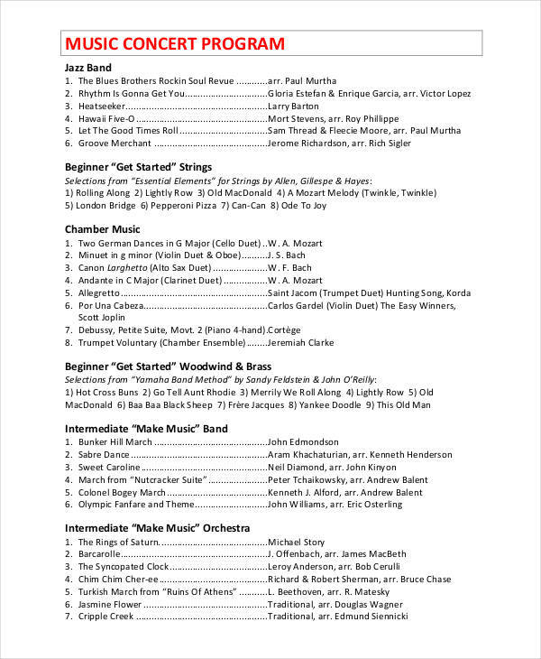 9 Concert Program Templates u2013 Free Sample, Example, Format Download - sample program templates