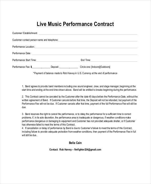 5 Music Contract Samples  Templates Sample Templates