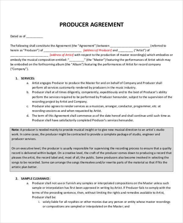 6 Music Contract Templates - Free Sample, Example, Format Download - music agreement contract