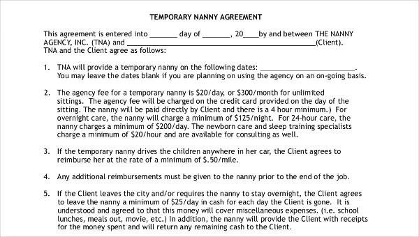 9+ Nanny Contract Templates \u2013 Free Sample, Example, Format Download - housekeeper contract templates