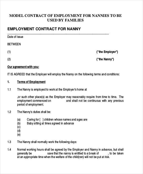 9+ Nanny Contract Templates \u2013 Free Sample, Example, Format Download