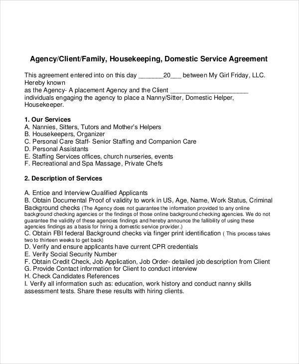 Sample Nanny Contracts lacienciadelpanico