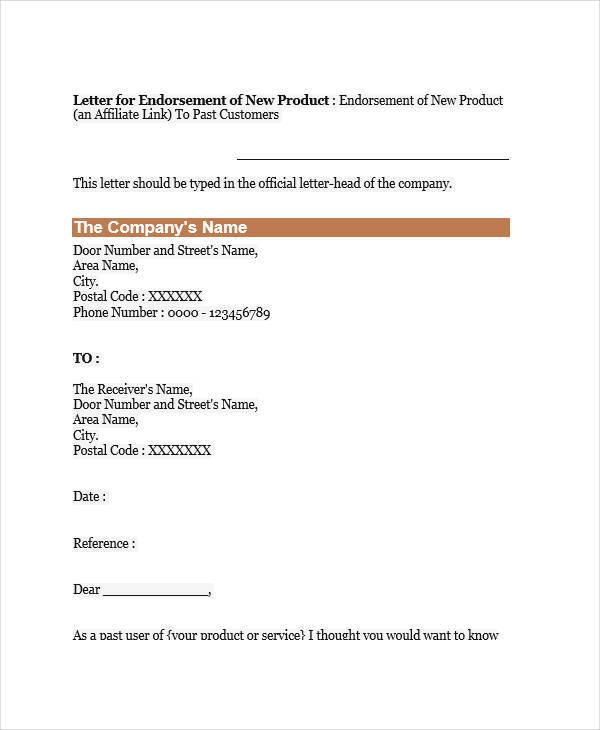 17 Endorsement Letters Samples  Templates Sample Templates - endorsement letter