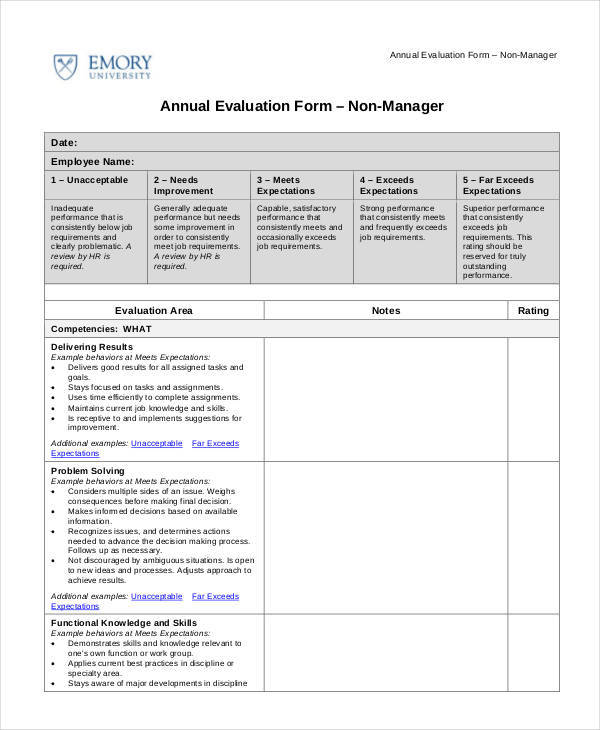 23 Employee Evaluation Form Examples  Samples Sample Templates - employee evaluations